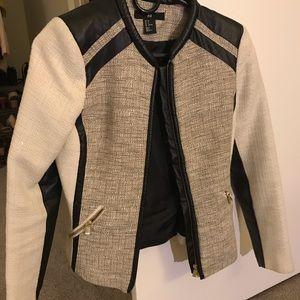 H & M leather trim jacket